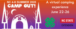 Cover photo for Registration Open for FREE NC 4-H Summer CAMP OUT! 2020